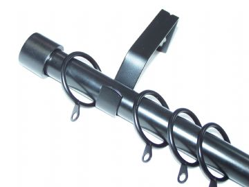 19mm Matt Black Curtain Pole System with End Cap Finials 1.2m 1.5m 2.4m 3m
